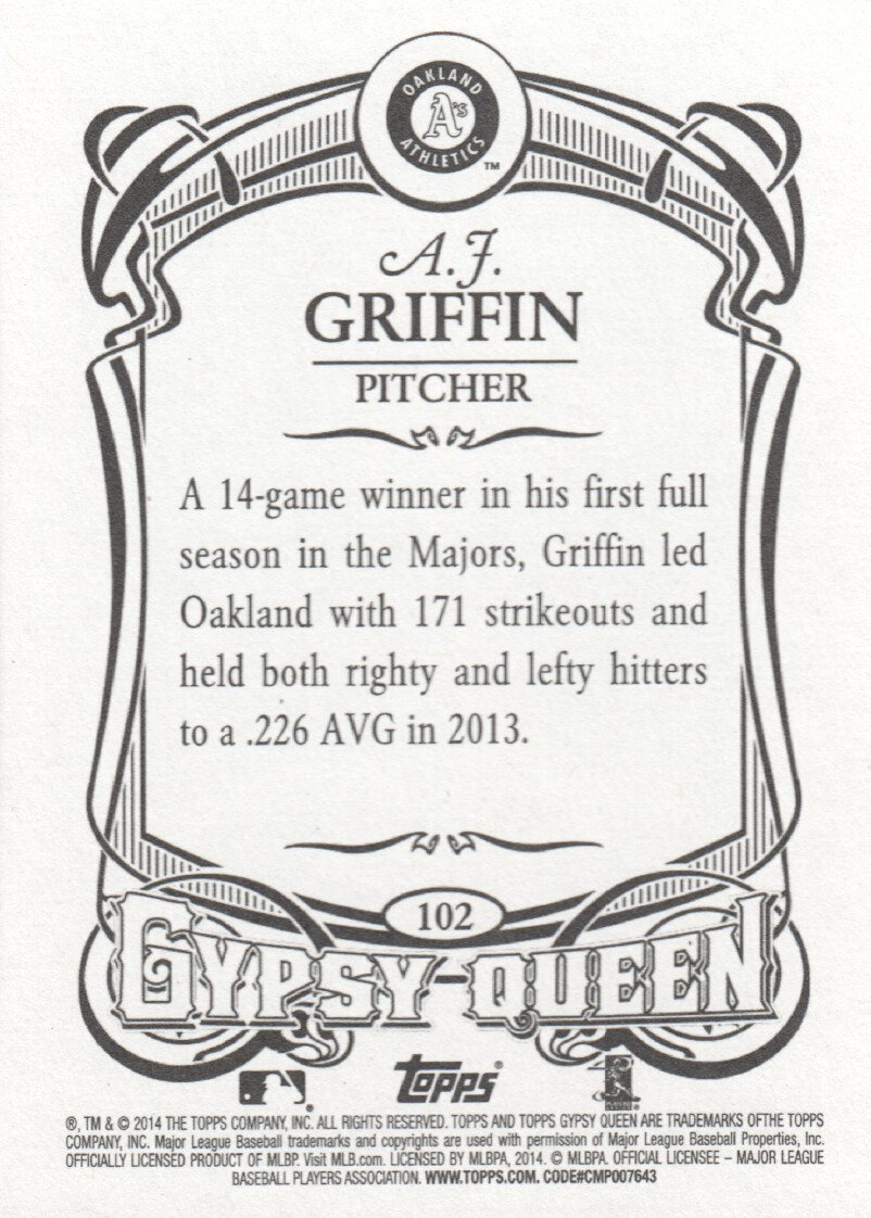 2014 Topps Gypsy Queen Baseball #102 A.J. Griffin Oakland