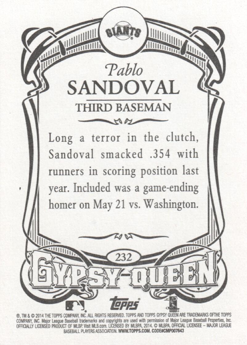 2014 Topps Gypsy Queen Baseball #232 Pablo Sandoval San