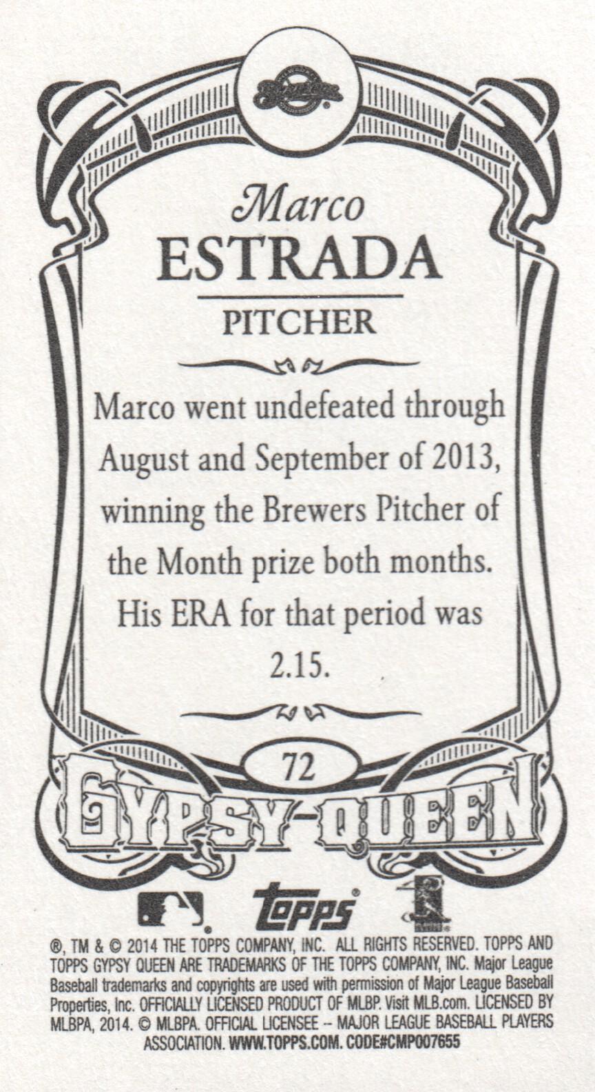 2014 Topps Gypsy Queen Mini #72 Marco Estrada Milwaukee