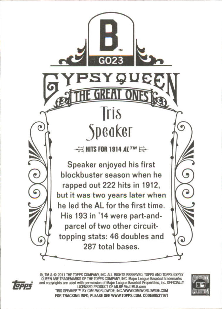 2011 Topps Gypsy Queen The Great Ones #GO23 Tris Speaker