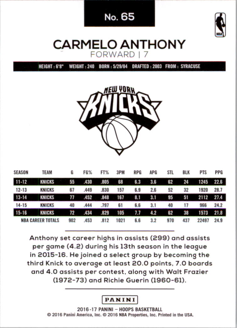 2016-17 NBA Hoops Basketball #65 Carmelo Anthony New York