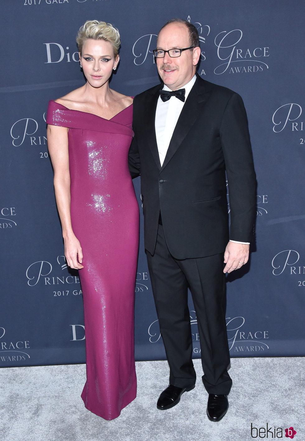 Alberto y Charlene de Mnaco en la gala Princesa Grace
