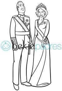 Rey Juan Carlos y Reina Sofa: dibujo para colorear
