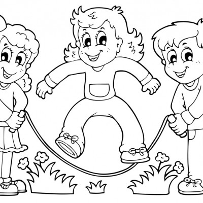 Saltando a la comba: dibujo para colorear