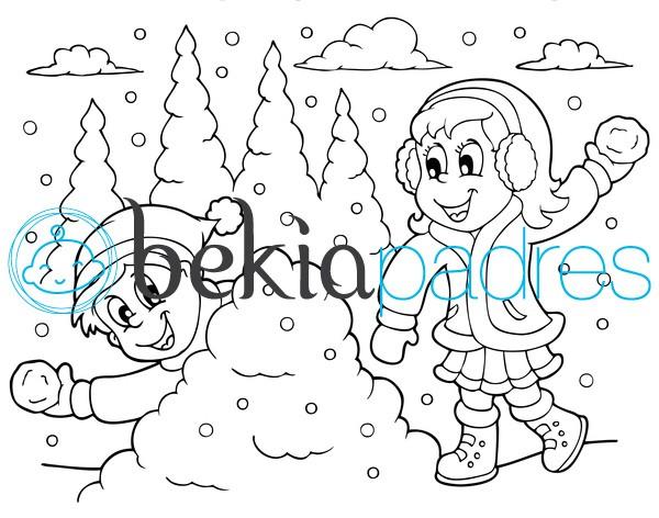 Lanzando bolas de nieve: dibujo para colorear