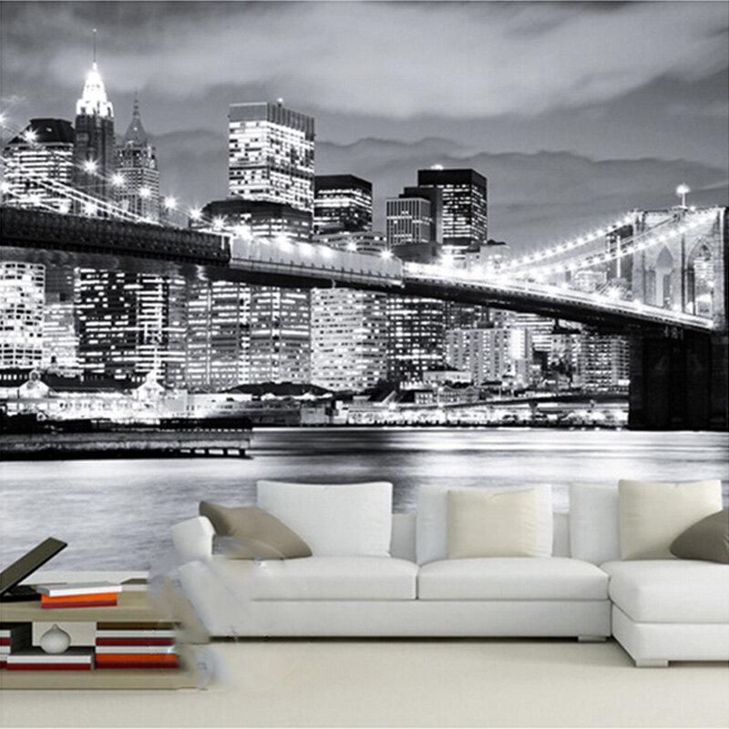 Design con fiori di ciliegio mostra carte da parati. Murale Personalizzato Night View Manhattan Ponte Di New York Citta Europee E Americane In Bianco E Nero Soggiorno Sfondo Carta Da Parati Pittura E Trattamento Delle Pareti