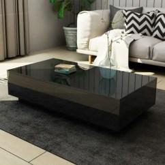 Black High Gloss Living Room Furniture Carpets India Modern Coffee Table 4 Drawer Side Bestdeals Co Nz