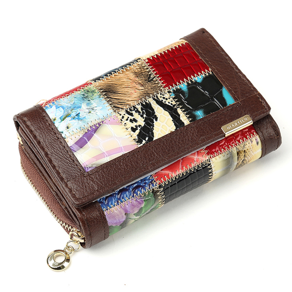 Women's Three Fold Plaid Pattern Leather Wallets Clutch Bags