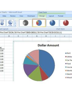 Chart tools also how to create  basic pie in microsoft excel rh brighthub