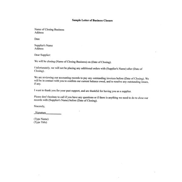 Free Sample Letter of Business Closure for Your Partners Customers and Suppliers