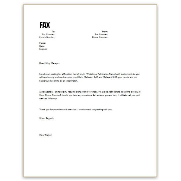 Fax Cover Letter Sample Fax Cover Letter Sample Soap Format Fax