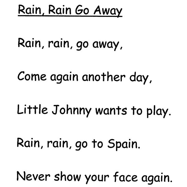 Rain, Rain, Go Away Nursery Rhyme: Lesson Plan and