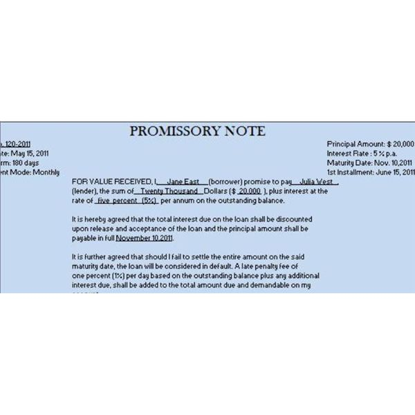 promissory note sample intoanysearchpromissory note sample