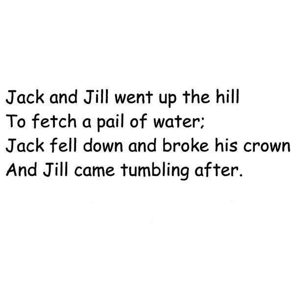 Jack and Jill Lesson Plan and Nursery Rhymes Activities