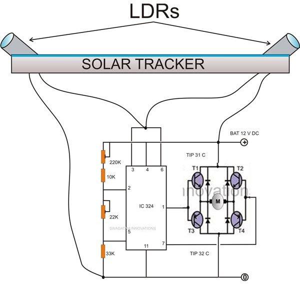 simple solar tracker circuit diagram image