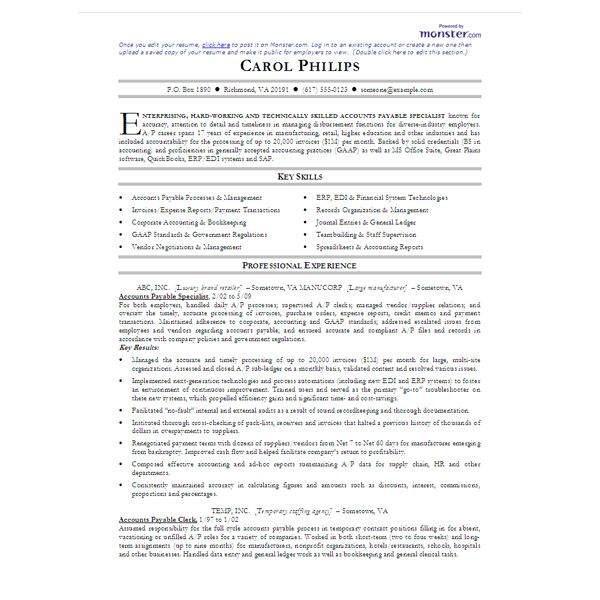 Create My Resume Accounting Objective 4  Accounts Payable Resume