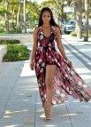Maxi Dress Pink Floral Romper Shorts
