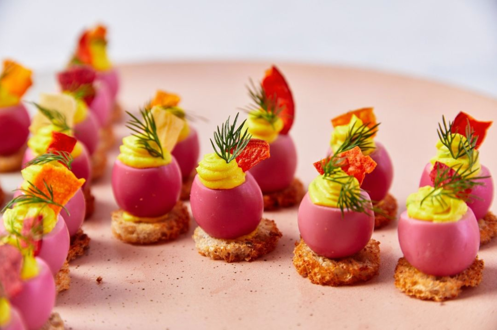 New York-based Abigail Kirsch put a colorful spin on deviled quail eggs for springtime hors d'oeuvres.