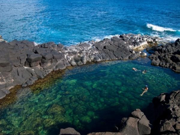 bể bơi queen's bath - hawaii
