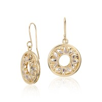 Floral Filigree Earrings in 14k Yellow and White Gold ...