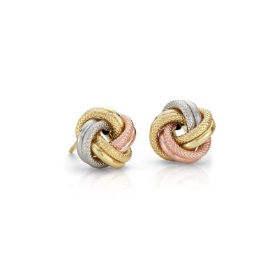 Trio Love Knot Earrings in 14k Tri
