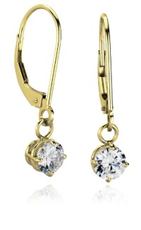 Four-Prong Leverback Dangle Earring Settings in 14k Yellow ...