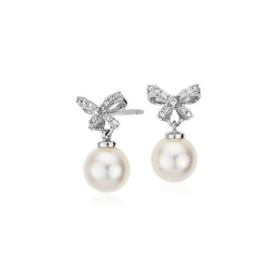 Freshwater Cultured Pearl and Diamond Bow Earrings in 18k