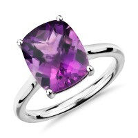 Amethyst Cushion Cocktail Ring in 14k White Gold (11x9mm ...
