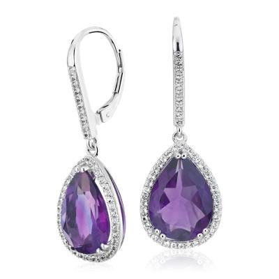 Amethyst Elegant Halo Drop Earrings in Sterling Silver