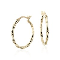 "Bamboo Hoop Earrings in 14k Yellow Gold (11/16"")   Blue Nile"