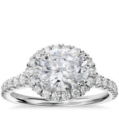 Blue Nile Studio East West Oval Halo Diamond Engagement