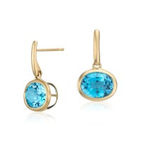Blue Topaz Drop Earrings in 14k Yellow Gold (10x8mm