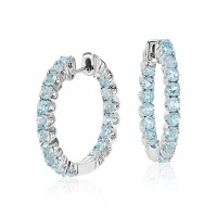 Swiss Blue Topaz Hoop Earrings in Sterling Silver (2.5mm ...