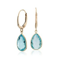 Blue Topaz Pear Drop Earrings in 14k Yellow Gold (12x8mm