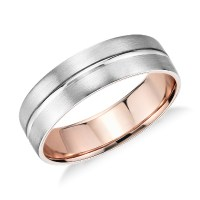 Matte Inlay Wedding Ring in Platinum and 18k Rose Gold ...