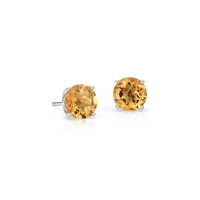 Citrine Stud Earrings in 18k White Gold (7mm)