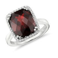 Garnet and Diamond Halo Cushion-Cut Ring in 14k White Gold ...
