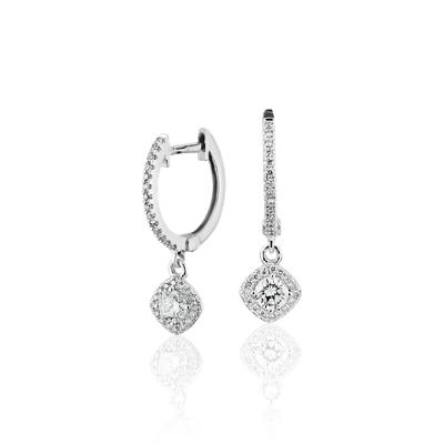Cushion Halo Diamond Drop Earrings in 14k White Gold (1/2