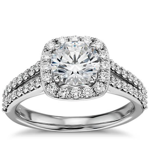 Split Shank Halo Diamond Engagement Ring in 14k White Gold