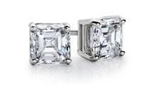 Asscher Diamond Stud Earrings in 14k White Gold (1/2 ct ...
