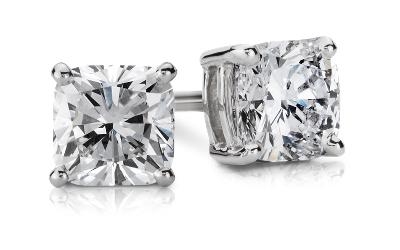 Cushion Diamond Stud Earrings in 14k White Gold (1 ct. tw