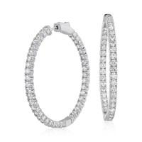 Diamond Hoop Earrings in 18k White Gold - F / VS2 (4 ct ...