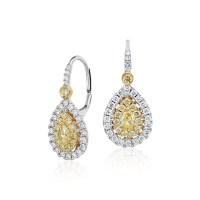 Pear-Shaped Yellow Diamond Double Halo Drop Earrings in ...