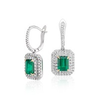 Emerald-Cut Emerald and Diamond Double Halo Drop Earrings ...