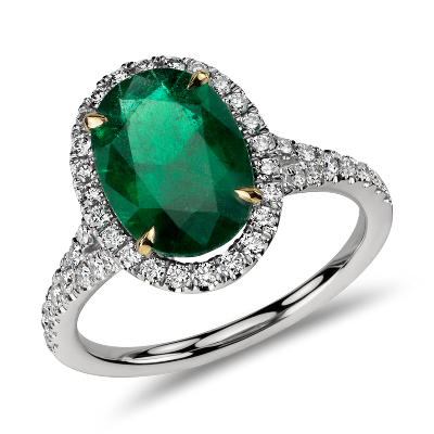Oval Emerald And Diamond Ring In Platinum (301 Cts