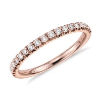 French Pav Diamond Ring in 14k Rose Gold (1/4 ct. tw ...