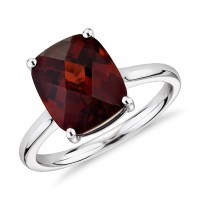 Garnet Cushion Cocktail Ring in 14k White Gold (11x9mm