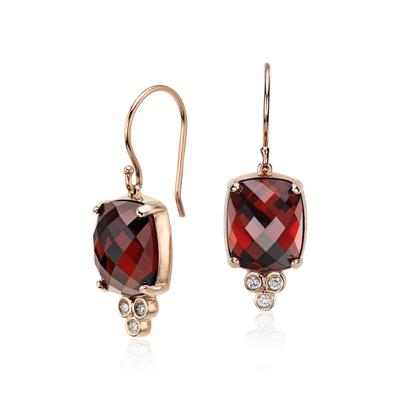 Robert Leser Garnet and Diamond Earrings in 14k Rose Gold