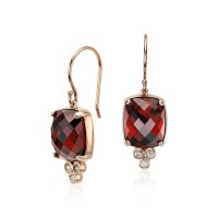 Robert Leser Garnet and Diamond Earrings in 14k Rose Gold