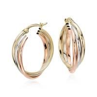 Hoop Earrings in 14k Tri